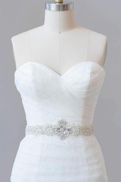 Awesome Ruffle Strapless Lace Sheath Wedding Dress_6