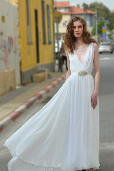 Front Slit Deep V-neck Lace Chiffon Wedding Dress_5