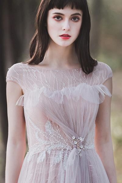 Eye-catching Cap Sleeve Lace A-line Wedding Dress_5