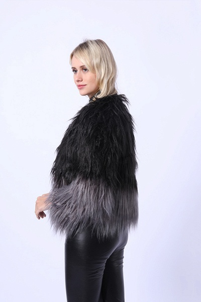Ombre Party Fashion Winter Regular Faux Fur Coats_7