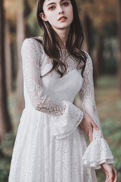Illusion Long Sleeve Lace A-line Wedding Dress_10
