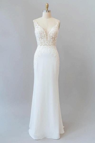 Elegant Lace Floor Length Mermaid Wedding Dress_1