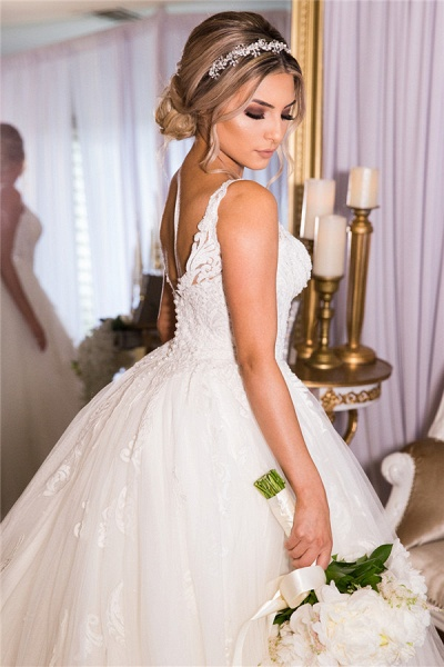 A-line Lace Tulle Ball Gown Wedding Dresses|Gorgeous Bridal Gowns_2