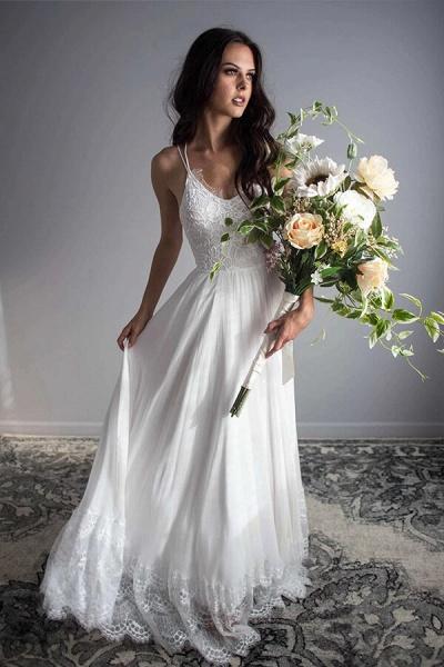 Amazing Spaghetti Strap Lace Chiffon Wedding Dress_3