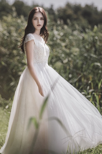 Awesome Cap Sleeve Lace Tulle A-line Wedding Dress_4