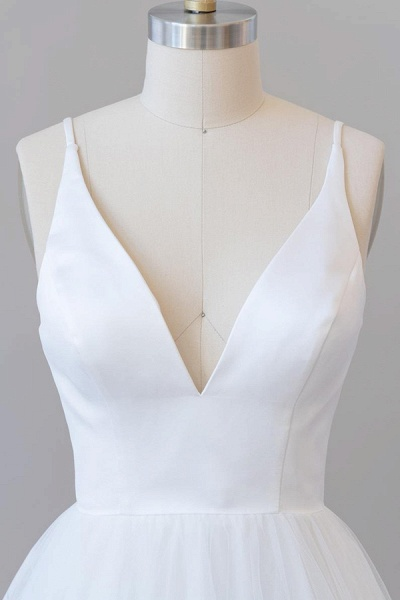 Beautiful V-neck Tulle A-line Wedding Dress_6