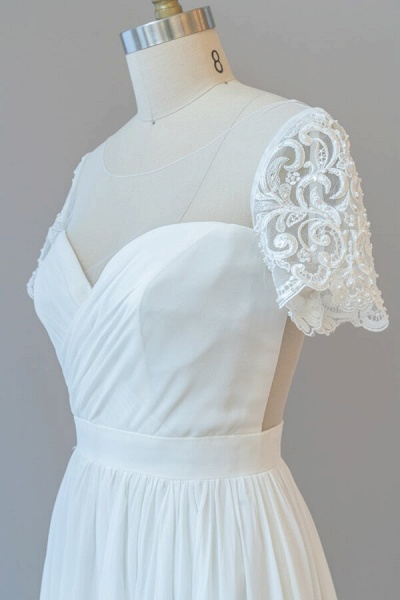 Ruffle Short Sleeve Chiffon A-line Wedding Dress_7