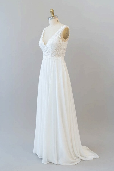 V-neck Appliques Chiffon A-line Wedding Dress_4