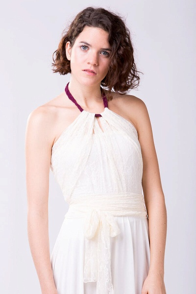Convertible Lace Floor Length Sheath Wedding Dress_5