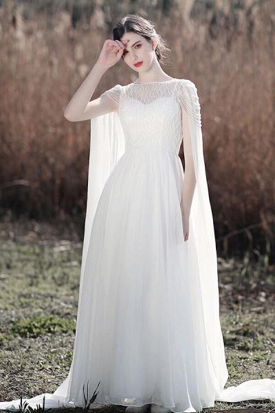 Eye-catching Beading Chiffon A-line Wedding Dress_5