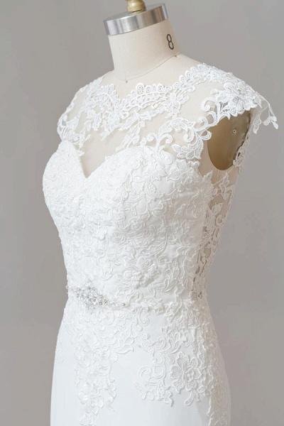 Cap Sleeve Illusion Lace Sheath Wedding Dress_7