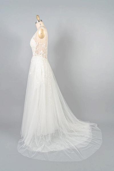 V-neck Appliques Tulle A-line Wedding Dress_5