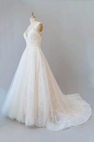 V-neck Appliques Tulle Chapel Train Wedding Dress_5