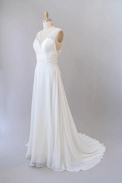 Empire V-neck Lace Chiffon A-line Wedding Dress_5