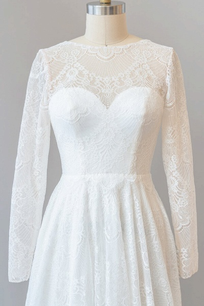 Illusion Long Sleeve Lace A-line Wedding Dress_6