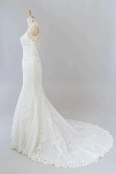 Graceful Illusion Appliques Mermaid Wedding Dress_5