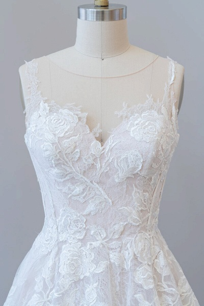 Illusion Appliques Tulle A-line Wedding Dress_6