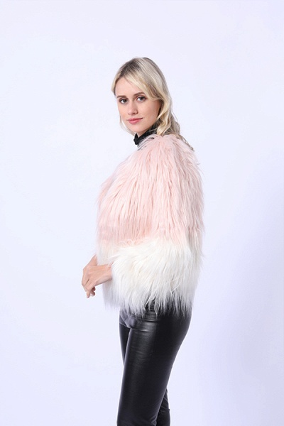 Ombre Party Fashion Winter Regular Faux Fur Coats_5