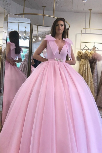 V-neck Sleeveless Belt Ballgown Dresses_2