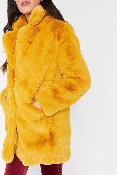 Winter Daily Regular Stand Long Faux Fur Coats_12