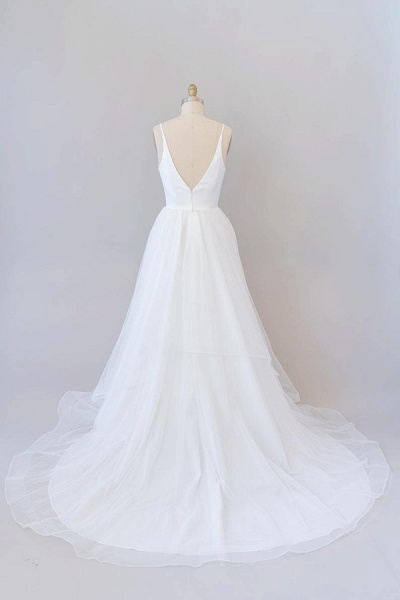 Beautiful V-neck Tulle A-line Wedding Dress_3