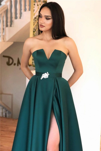 A-line Strapless Backless Splitfront Floorlength Evening Dress_2