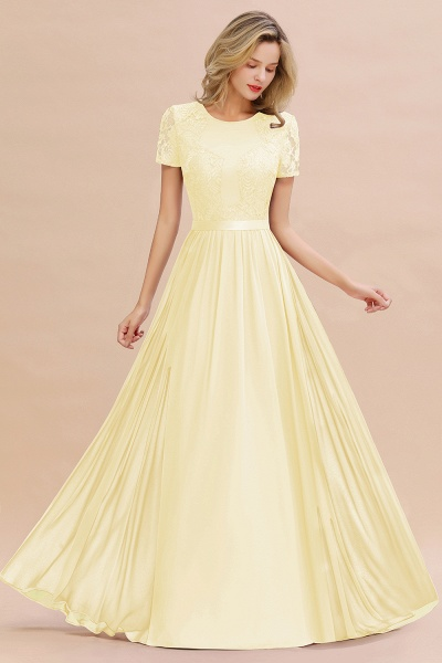 BM0831 Chiffon Lace Scoop Short Sleeve Bridesmaid Dress_18