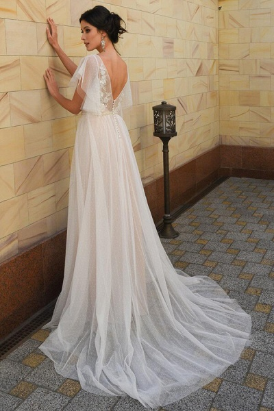Polka Dot Appliques Tulle A-line Wedding Dress_3