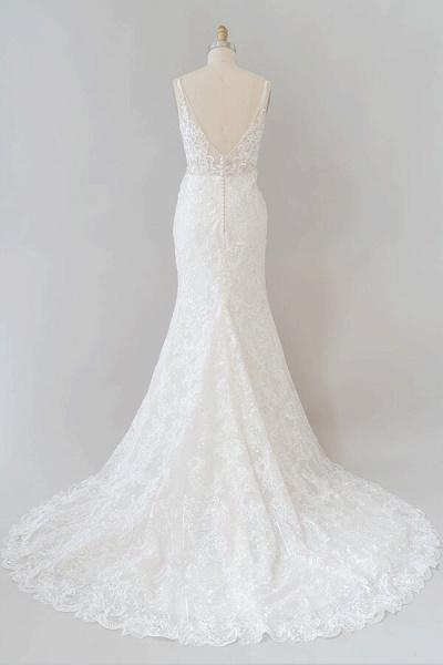 Elegant Appliques V-neck Sheath Wedding Dress_3