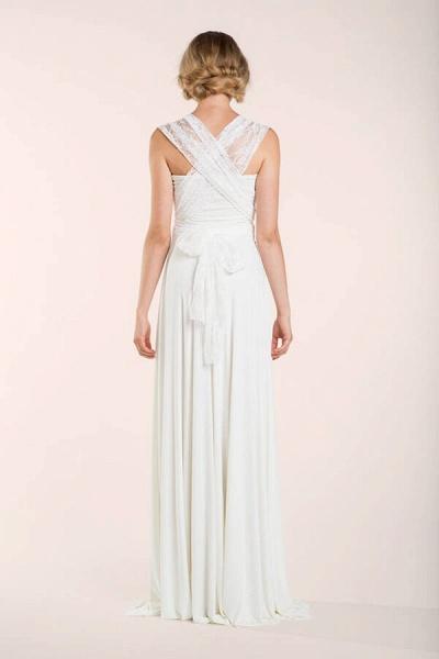Convertible Lace Floor Length Sheath Wedding Dress_8