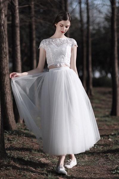 Latest Short Sleeve A-line Tulle Wedding Dress_4