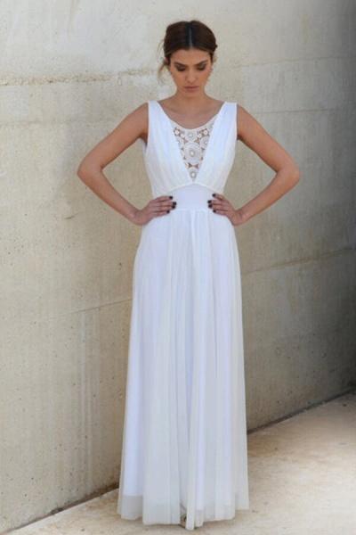 Graceful Empire Waist Tulle Sheath Wedding Dress_1