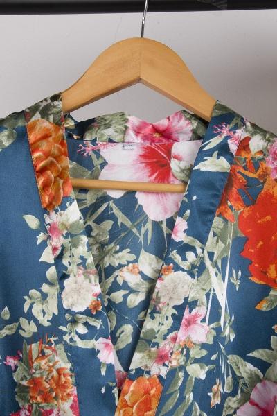Short Sleeve Floral Print Bridesmaid Bridal Robes_30