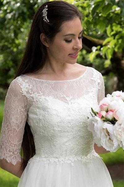 Modest Lace Tulle Court Train A-line Wedding Dress_5