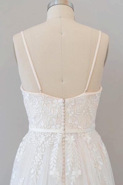 Chic Spaghetti Strap Appliques Tulle Wedding Dress_8