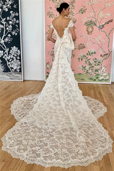 Mermaid Lace Off-the-shoulder Formal Dresses|Backless Wedding Gowns_2