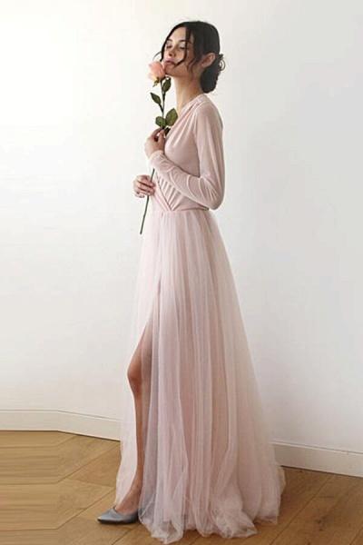 Front Slit Long Sleeve V-neck Tulle Wedding Dress_3