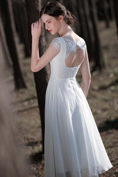 Chic Cap Sleeve Lace Chiffon A-line Wedding Dress_5