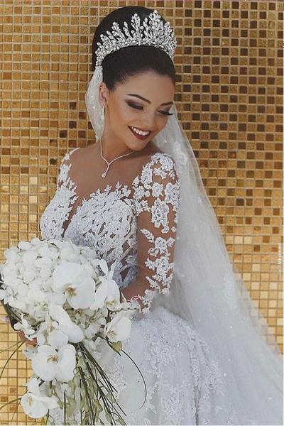 SDBA9863 White Lace Mermaid Long Sleeve Wedding Dresses_2