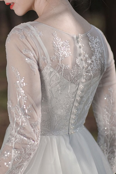 Long Sleeve Sequins Tulle A-line Wedding Dress_10