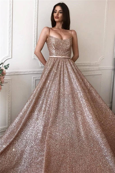 Sequined A-line Spaghettistraps Floorlength Evening Dresses_1