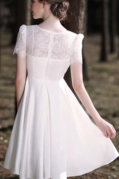 Short Sleeve Lace A-line Short Wedding Dress_8
