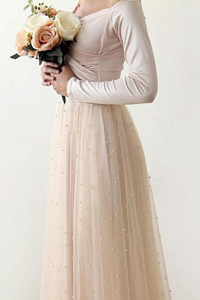 Long Sleeve Off The Shoulder Tulle Wedding Dress_7