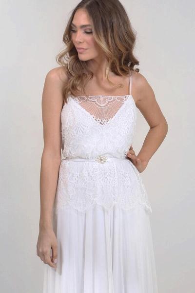 Spaghetti Strap Lace Chiffon Sheath Wedding Dress_6