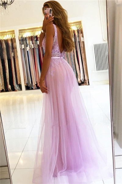 Straps A-line Lace V-neck Evening Dresses_2