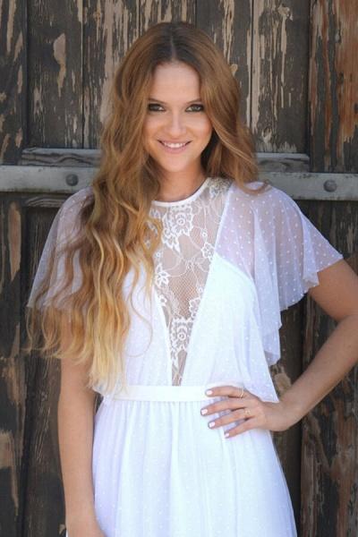 Polka Dot Short Sleeve Lace Tulle Wedding Dress_9
