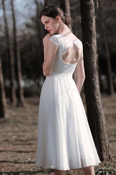 Chic Cap Sleeve Lace Chiffon A-line Wedding Dress_3