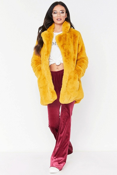 Winter Daily Regular Stand Long Faux Fur Coats_10