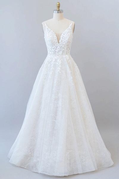 Open Back Appliques Tulle A-line Wedding Dress_2