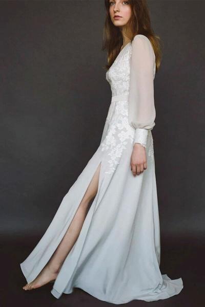 V-neck Long Sleeve Appliques Chiffon Wedding Dress_4
